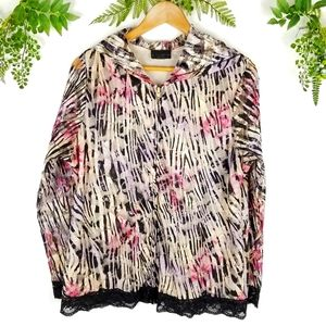 🌼LACE animal print floral zippered hoodie sz L